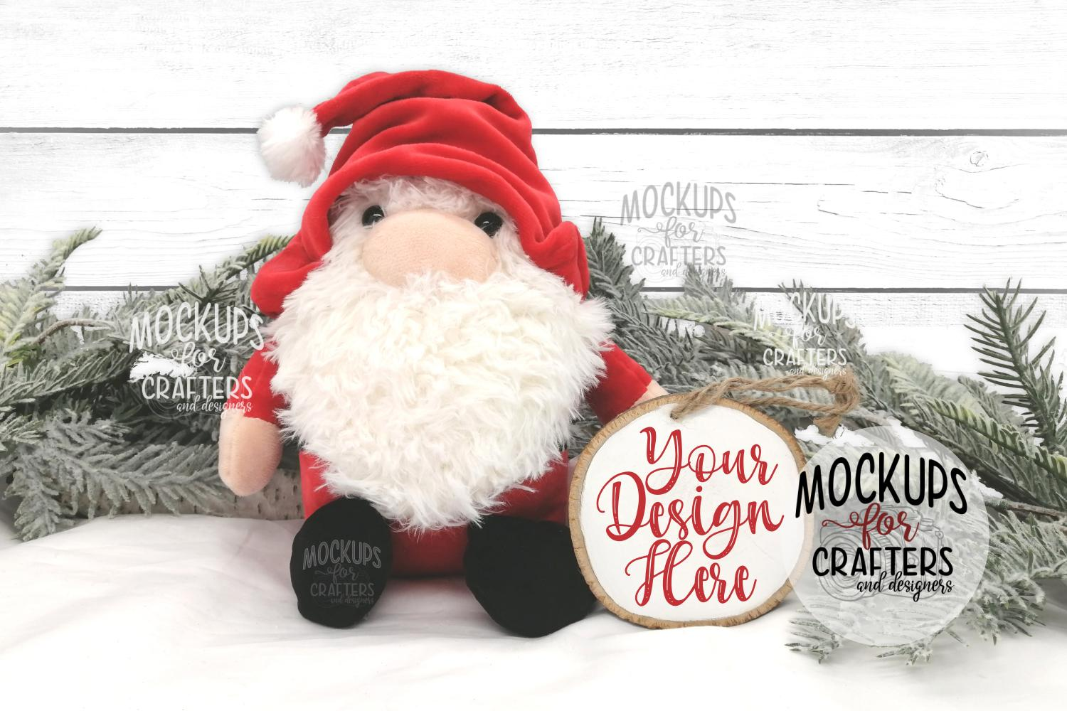 Wood Slice Ornament, Christmas, Winter, Santa Gnome example image 1