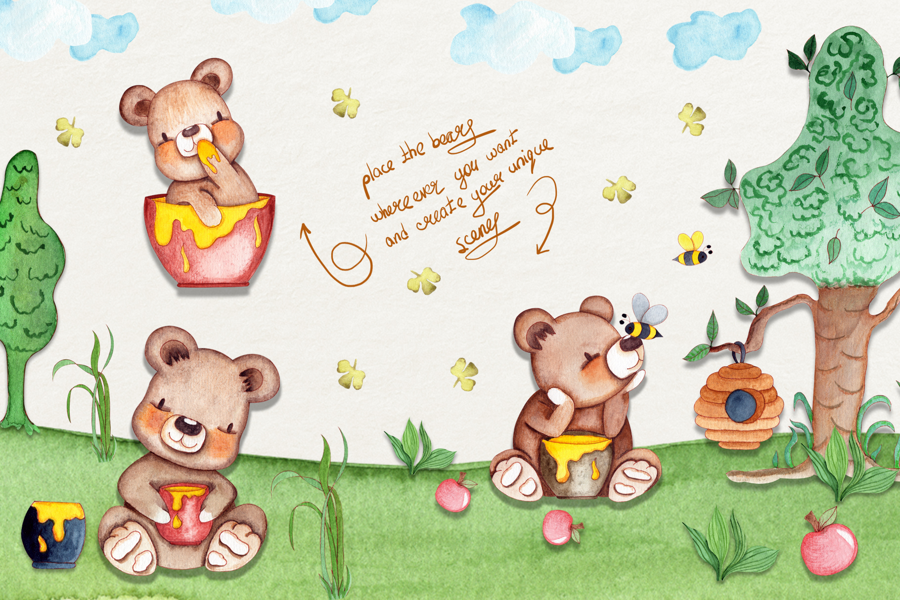 Honey Bears Watercolor Collection example image 3