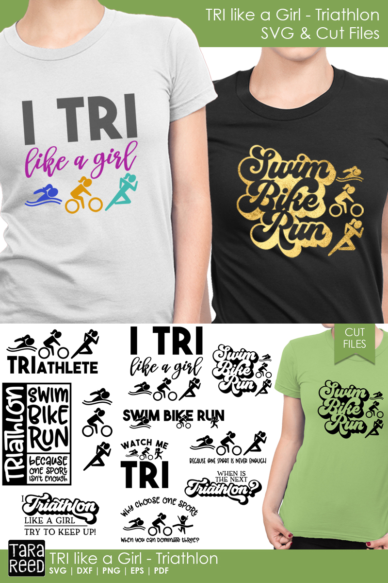 TRI like a Girl - Triathlon SVG and Cut Files for Crafters example image 3