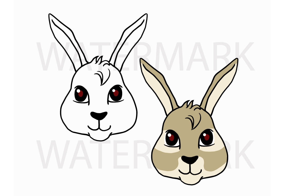 Bunny Rabbit Head so Cute! - SVG/JPG/PNG Hand Drawing example image 1