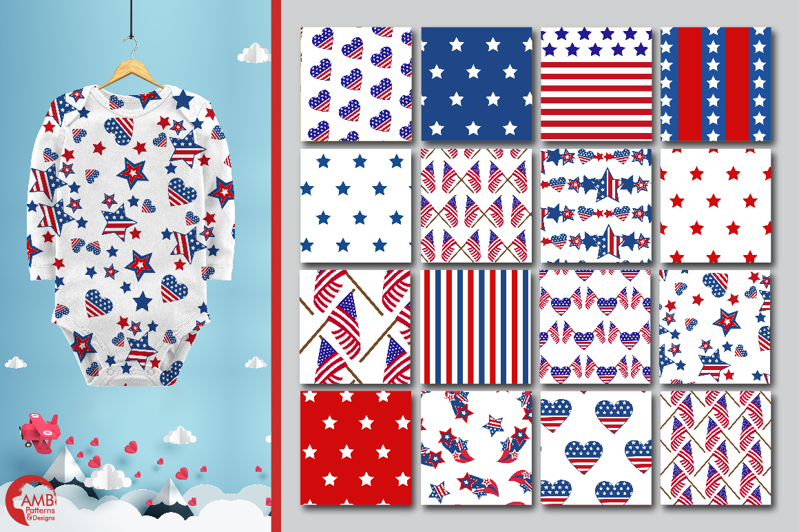 Patriotic, Fourth of July patterns, paper AMB-1357 example image 5