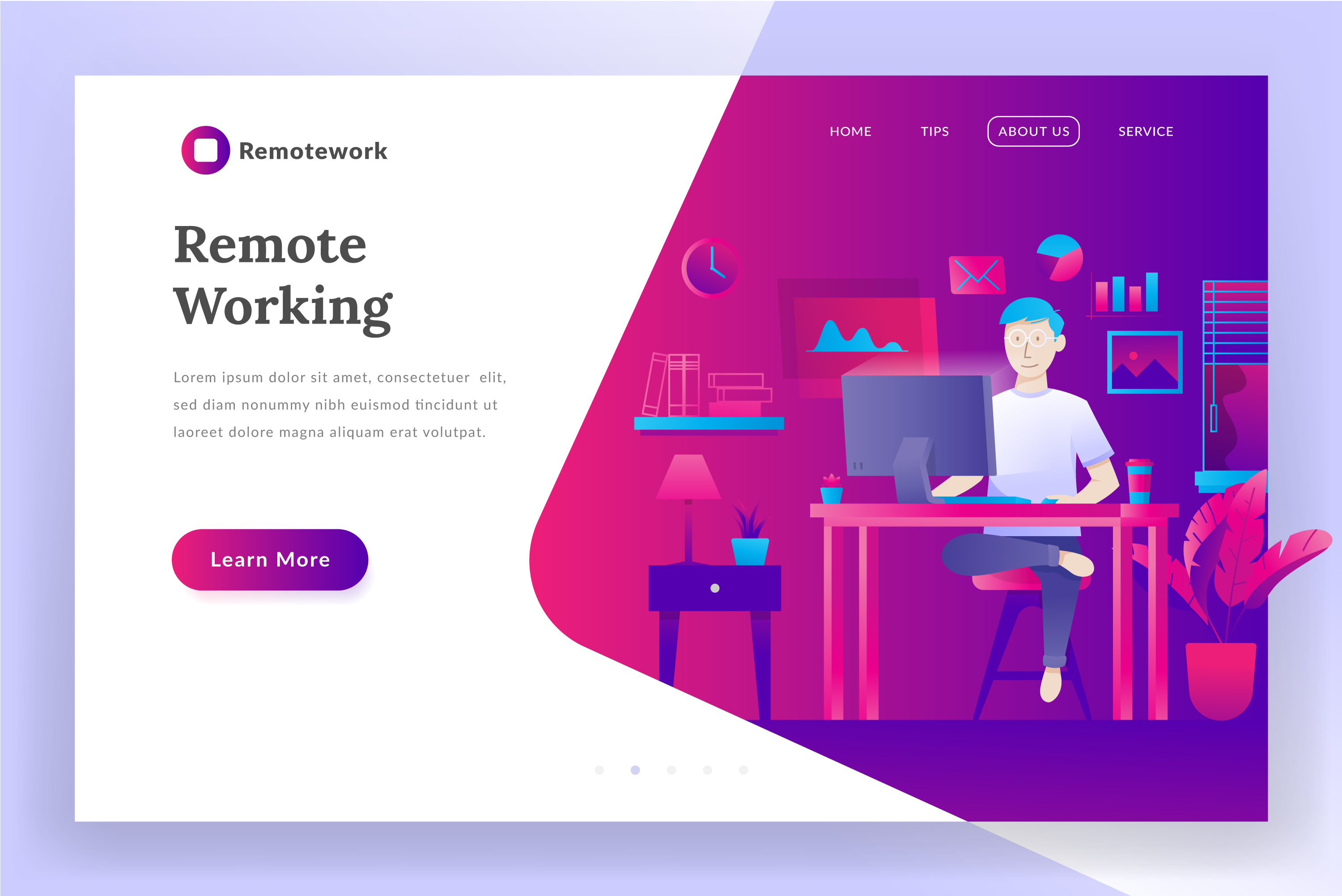 Remote working - landing page illustration example image 1