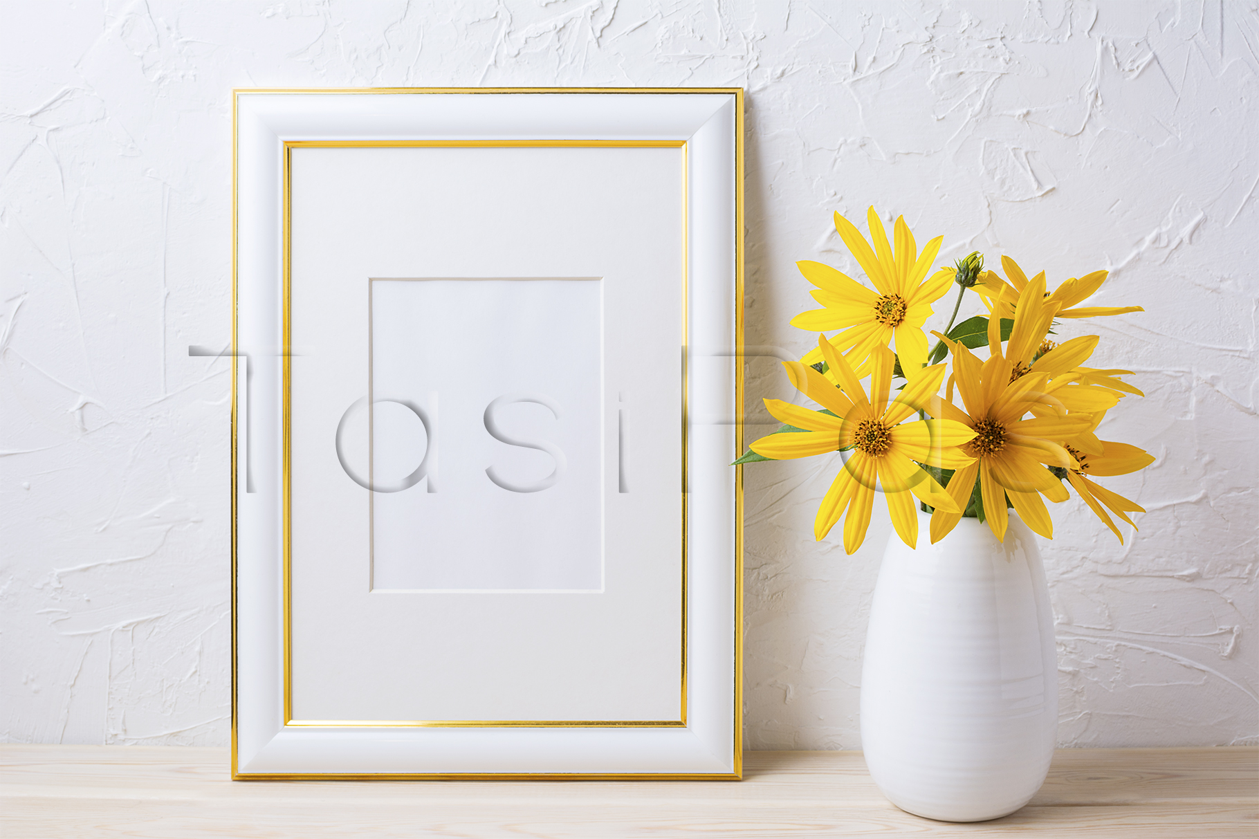 Gold decorated frame mockup with yellow rosinweed flowers example image 2