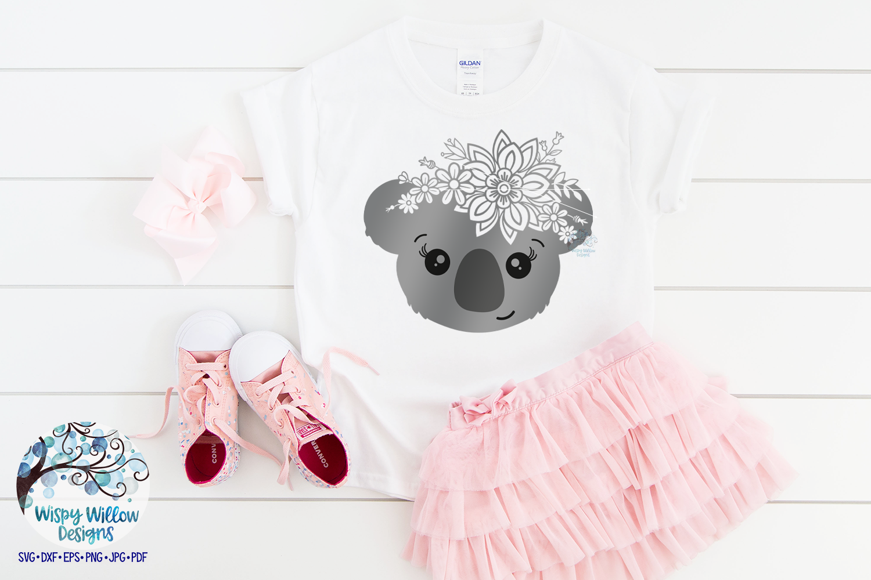 Floral Koala SVG | Girl Koala Face SVG Cut File example image 2
