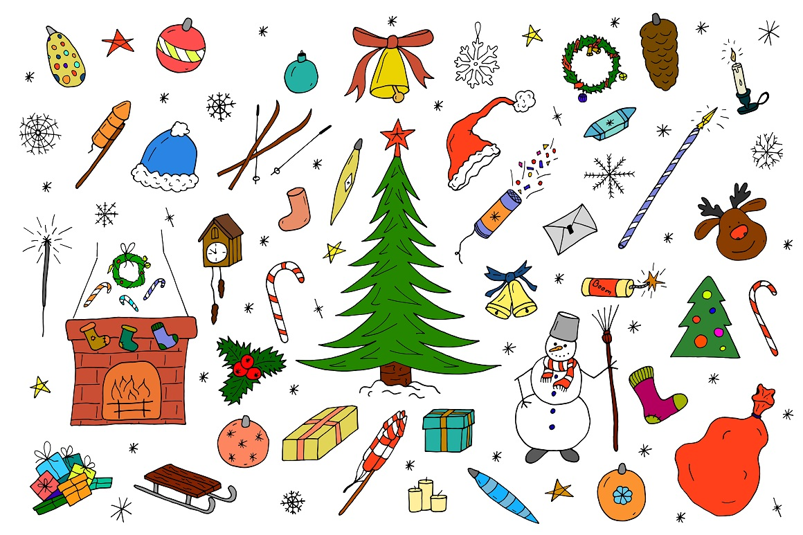 Color christmas doodle elements example image 3