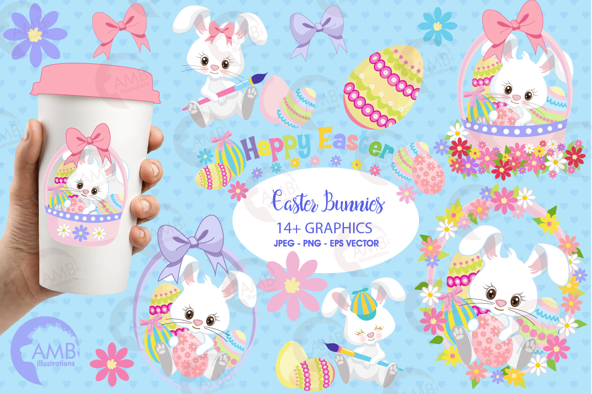Easter Bunnies clipart, graphics, illustrations AMB-1182 example image 1