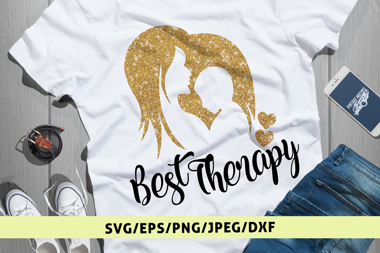 Best Therapy Mom's Love - Mother SVG EPS DXF PNG Cut Files example image 1