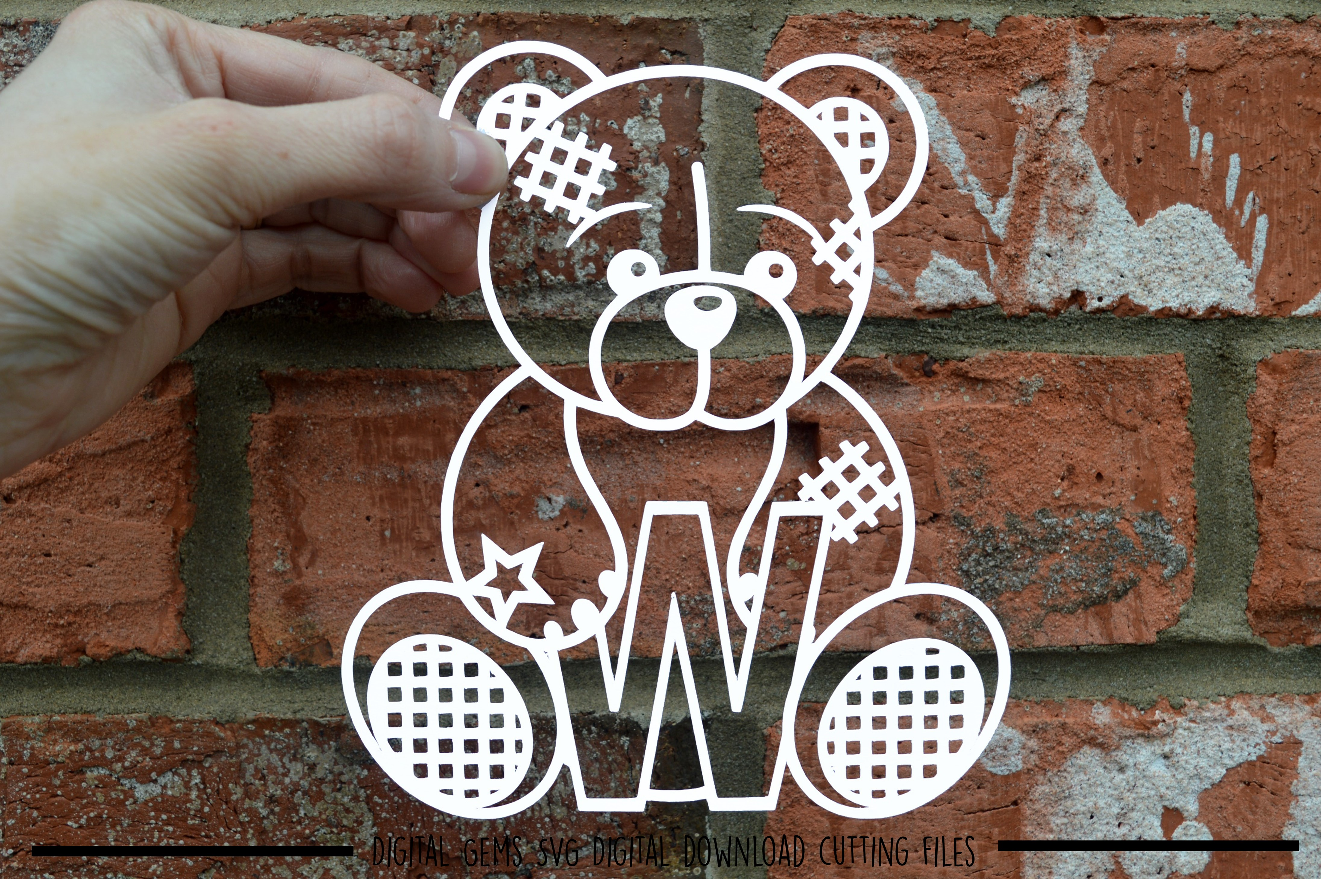 Alphabet teddy bear paper cuts SVG / DXF / EPS files example image 25