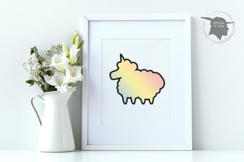 Unicorn Sheep Applique Embroidery Design, Unicorn Embroidery example image 2