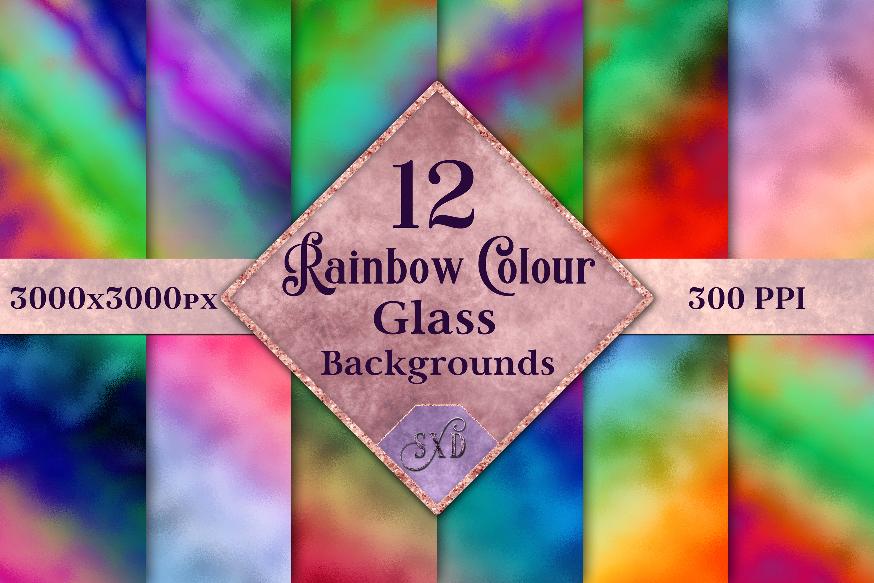 Rainbow Colour Glass Backgrounds - 12 Image Textures Set example image 1