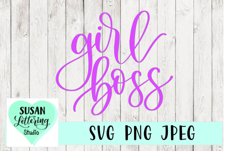 Girl Boss Hand lettered SVG, PNG, JPEG example image 1