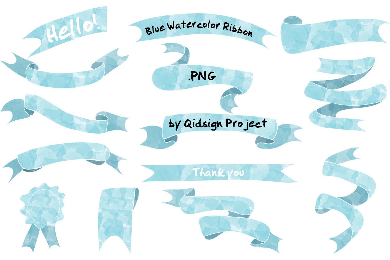 Blue watercolor ribbon .PNG example image 1