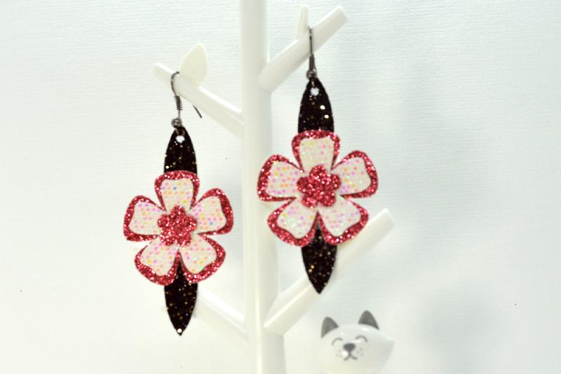 Flower earrings template SVG, DIY earrings template bundle example image 3