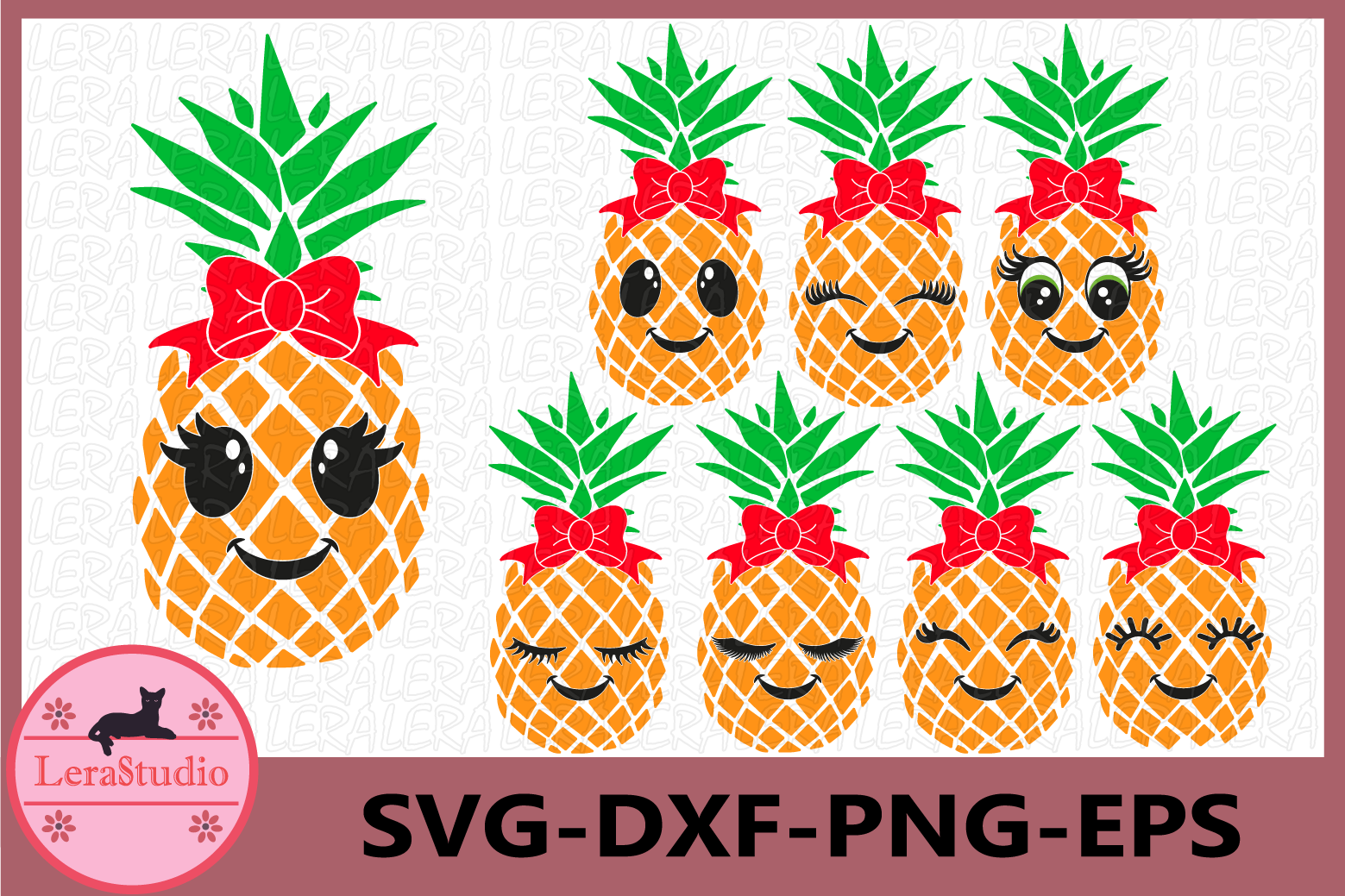 Pineapple face Svg, Pineapples SVG, Eyelashes SVG, bow Svg example image 1