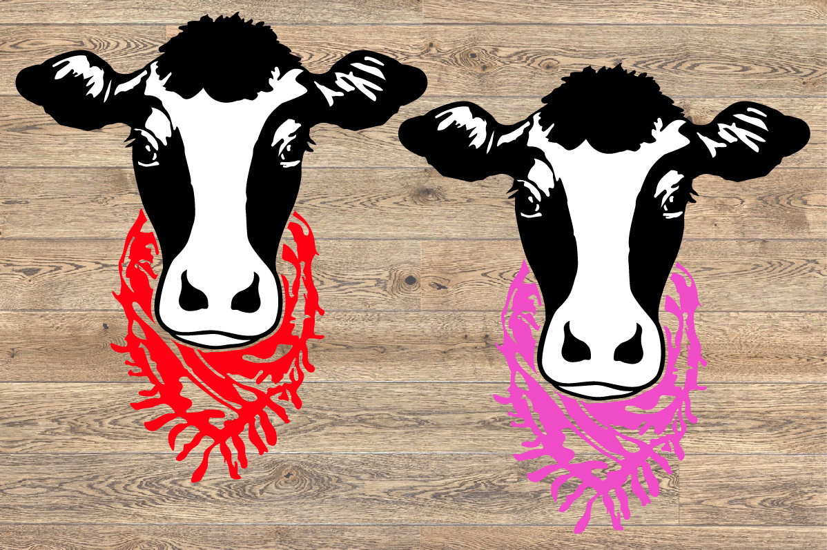 Cow Head whit Scarf SVG cowboy Farm heifer 1270s example image 2