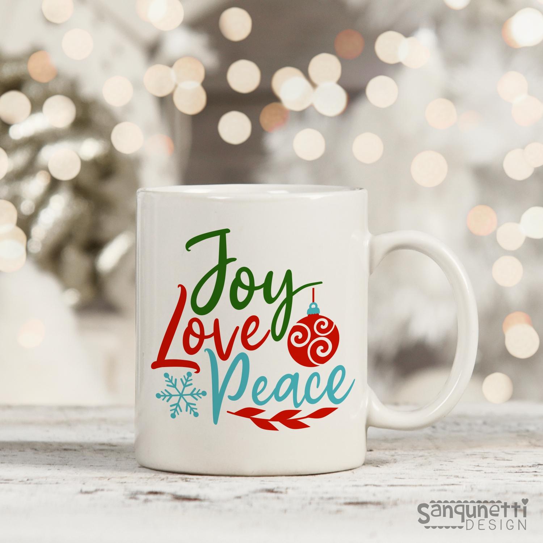 Joy Love Peace SVG , Christmas cutting file example image 3