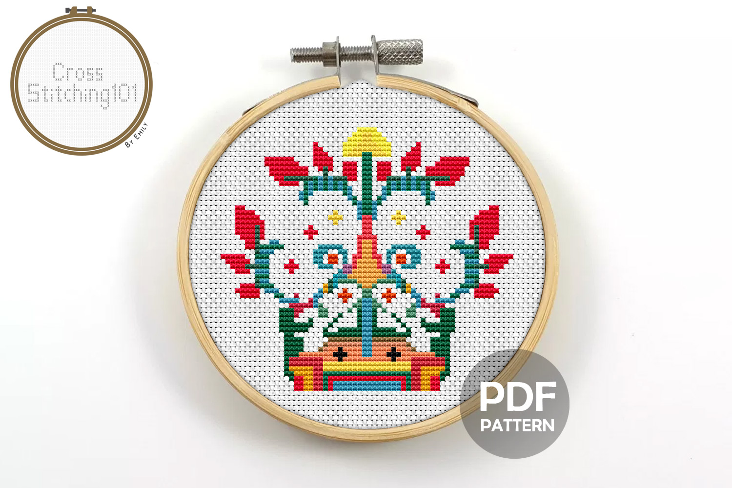 Floral Design Cross Stitch Pattern- Instant Download PDF example image 1