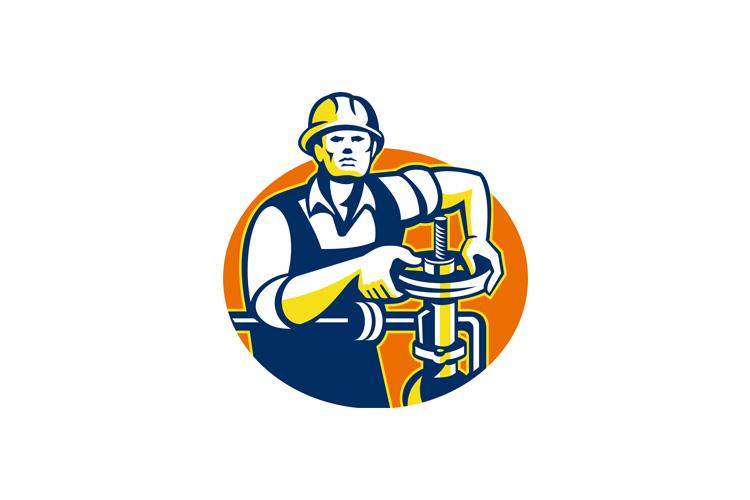 Pipefitter Oil Worker Tighten Pipe Valve example image 1