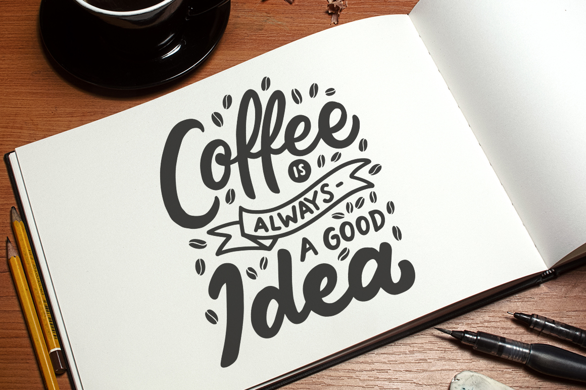 Set of Hand Lettering Coffee Quotes - SVG Cut File Bundle example image 4