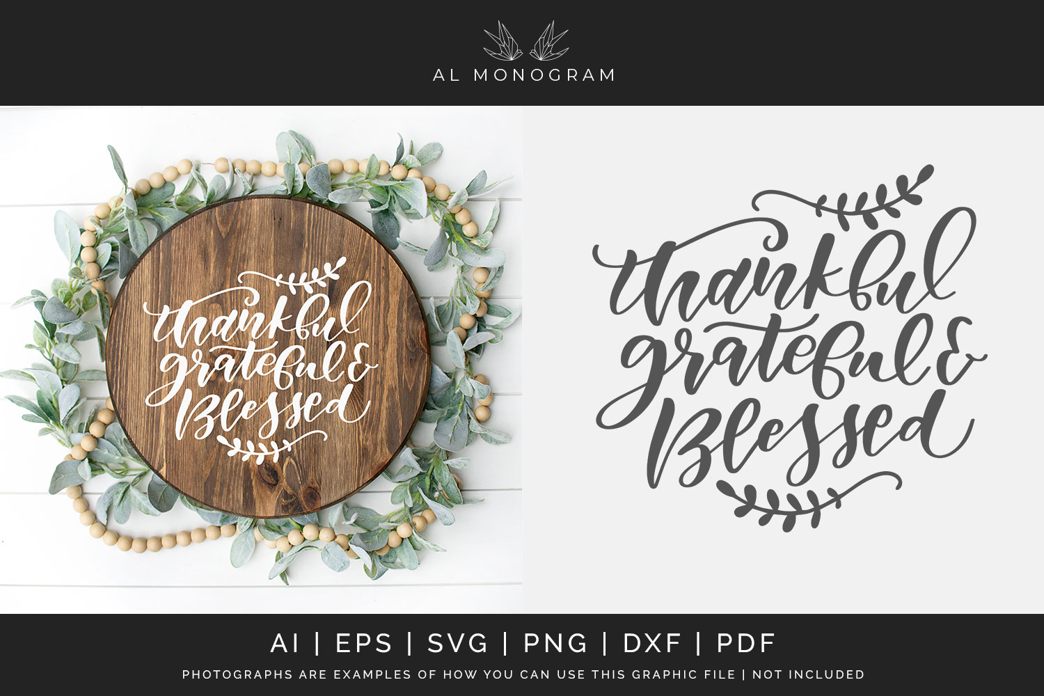 Thankful Grateful and Blessed SVG Digital Laser Cut File example image 1