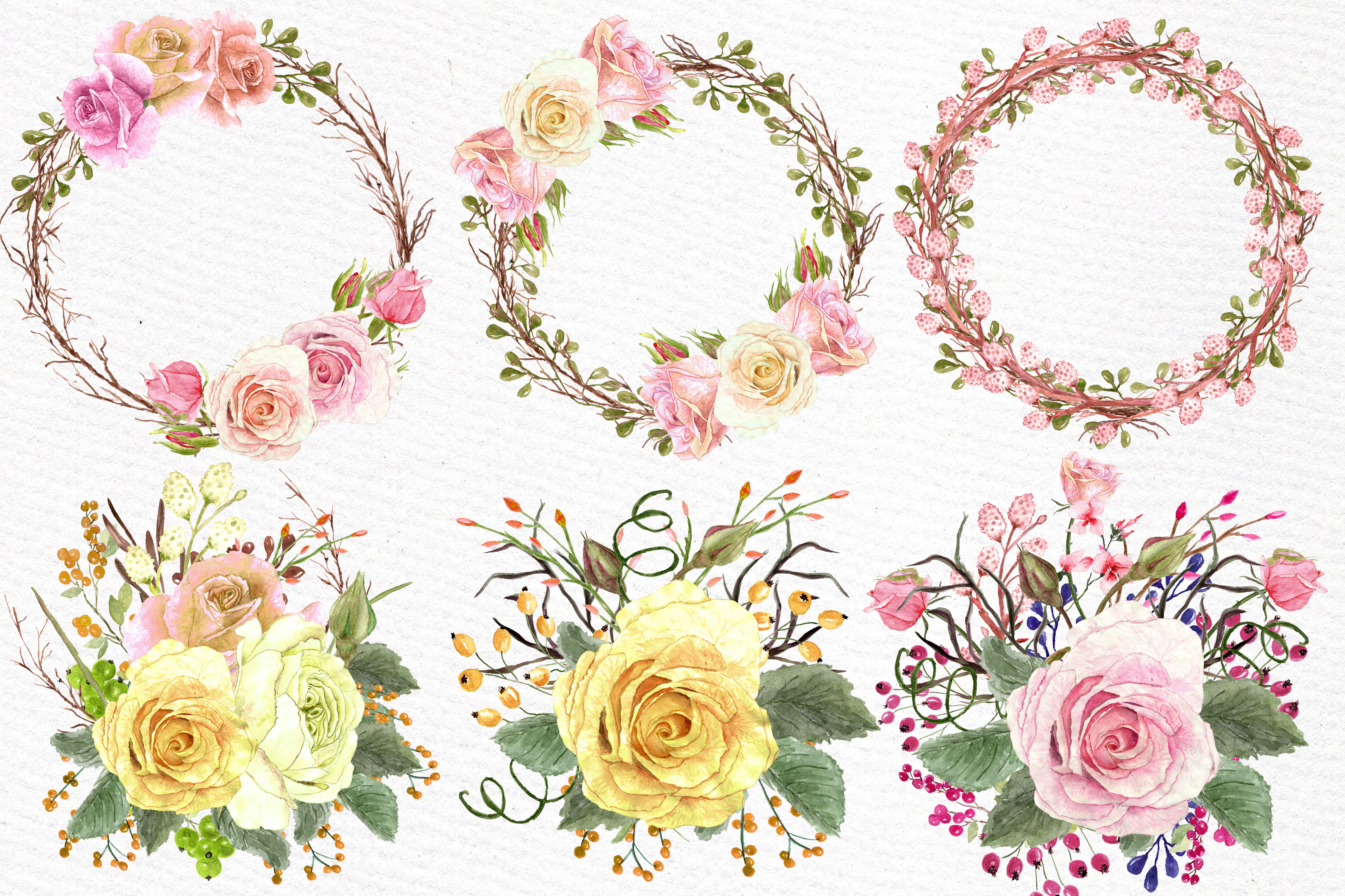 Watercolor roses clipart example image 3
