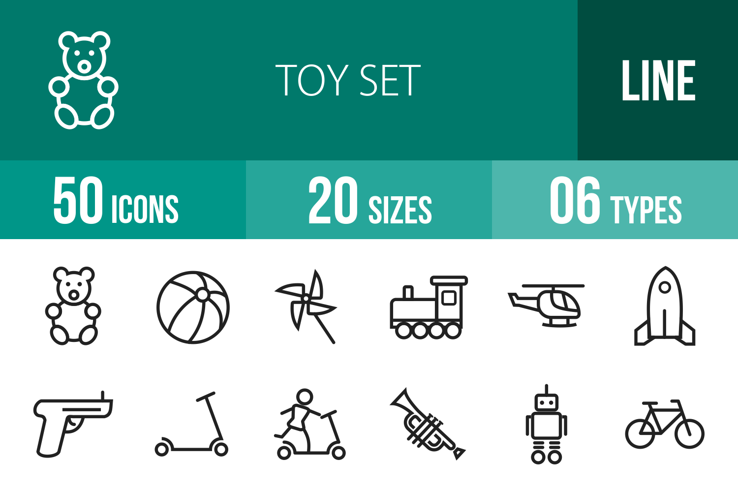 50 Toy Set Line Icons example image 1