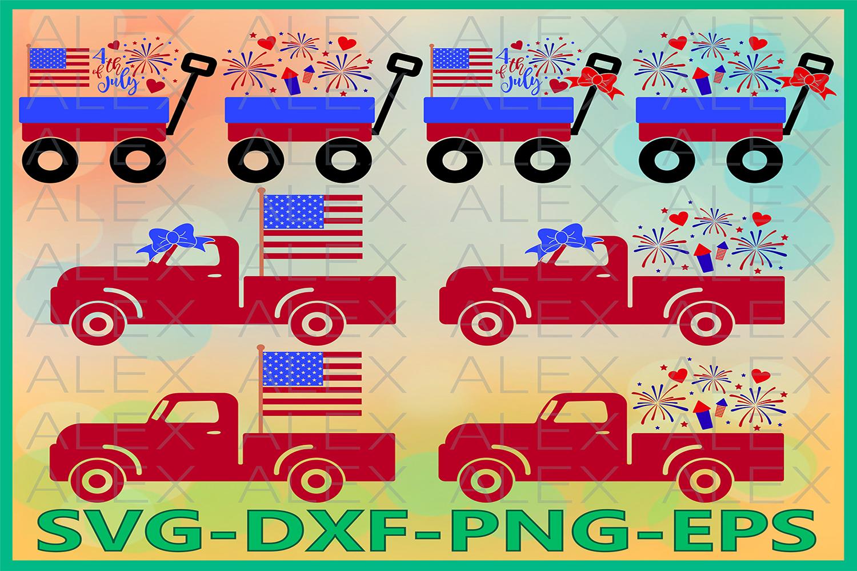 Truck Svg, 4th of July Svg, USA Svg Files, Usa svg example image 1