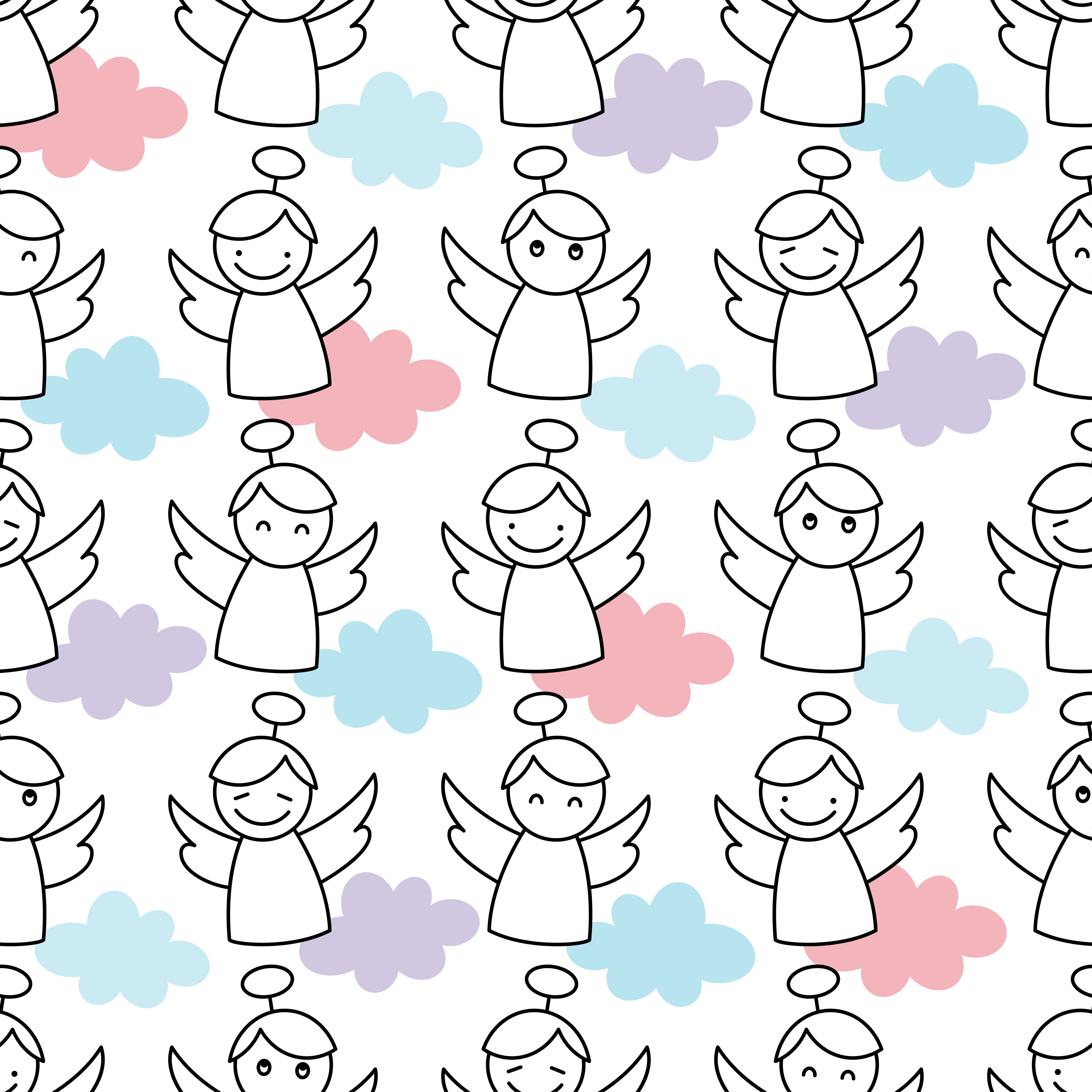 Christmas Angels. Seamless vector background with Angels.  example image 1