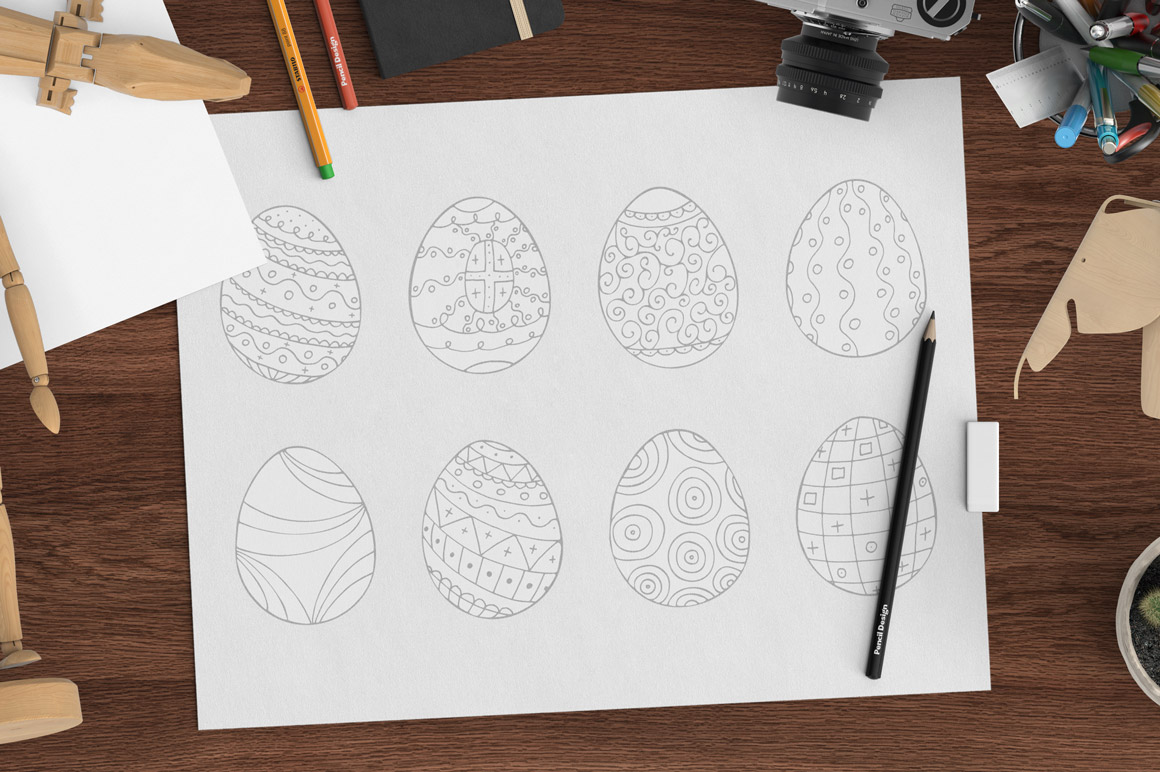 Hand drawn easter eggs-doodle style example image 2