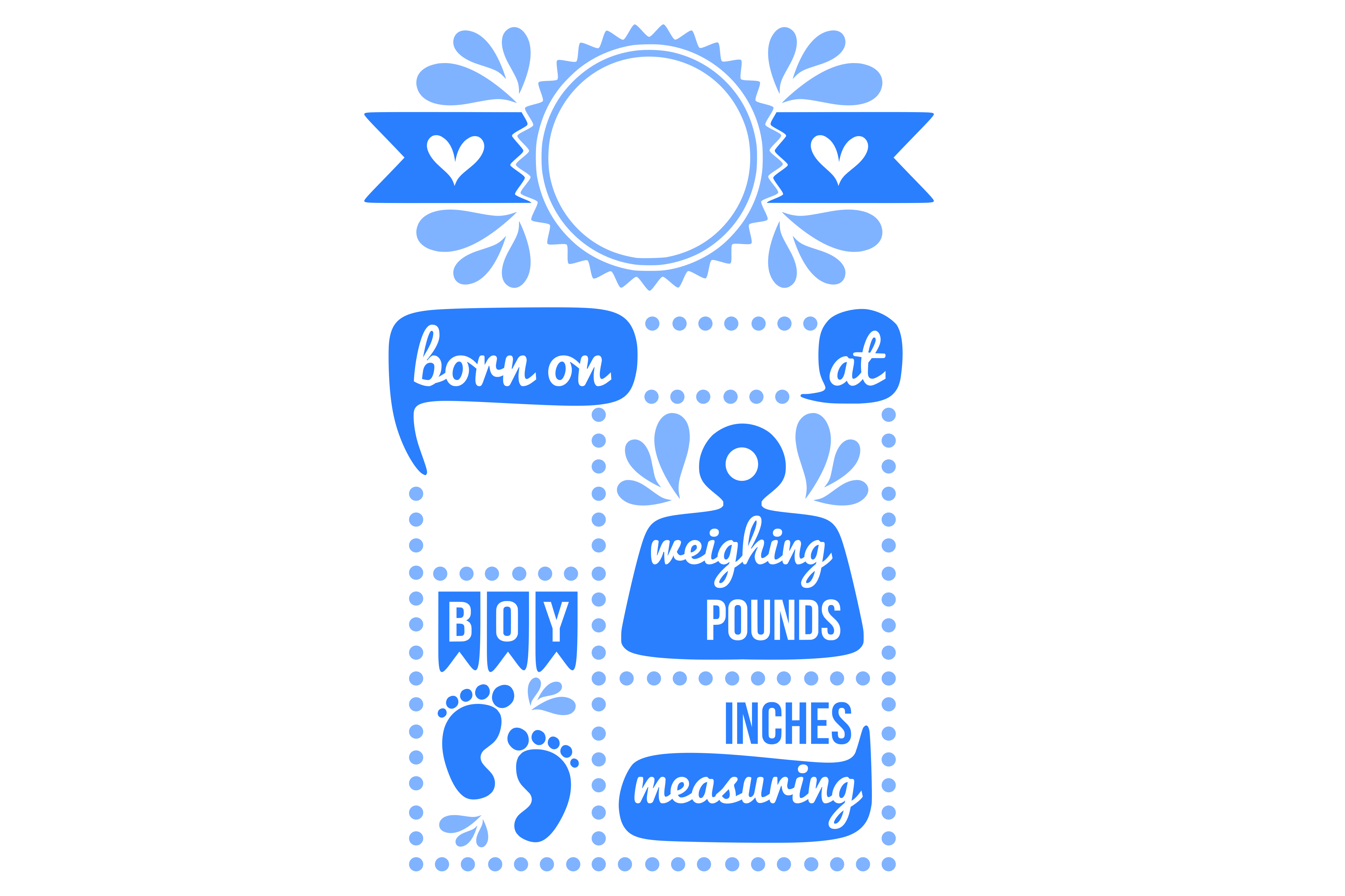 Birth stats svg, birth stats template, baby stats svg file example image 2
