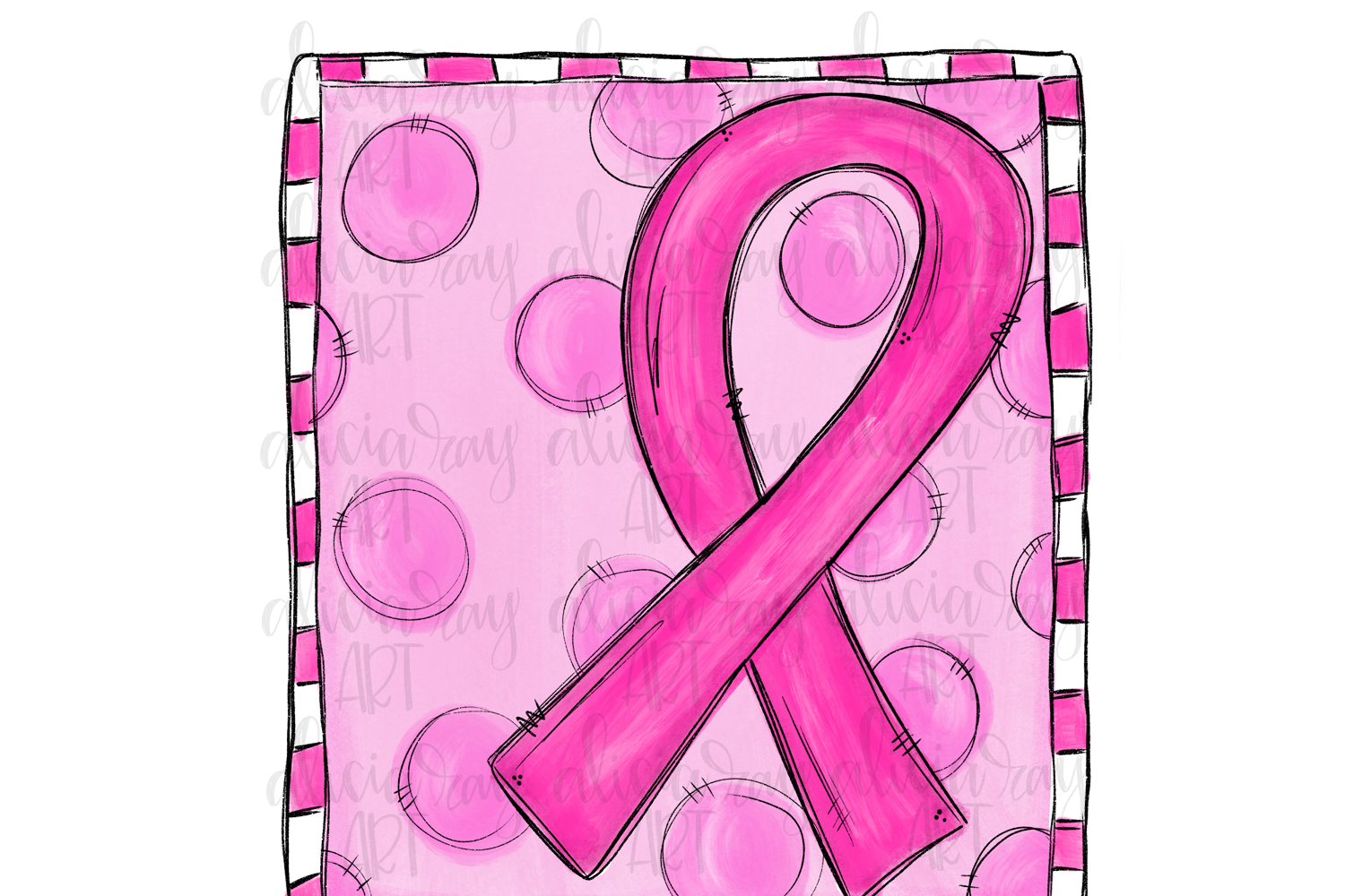 Breast Cancer Ribbon Sublimation PNG Digital Download example image 1