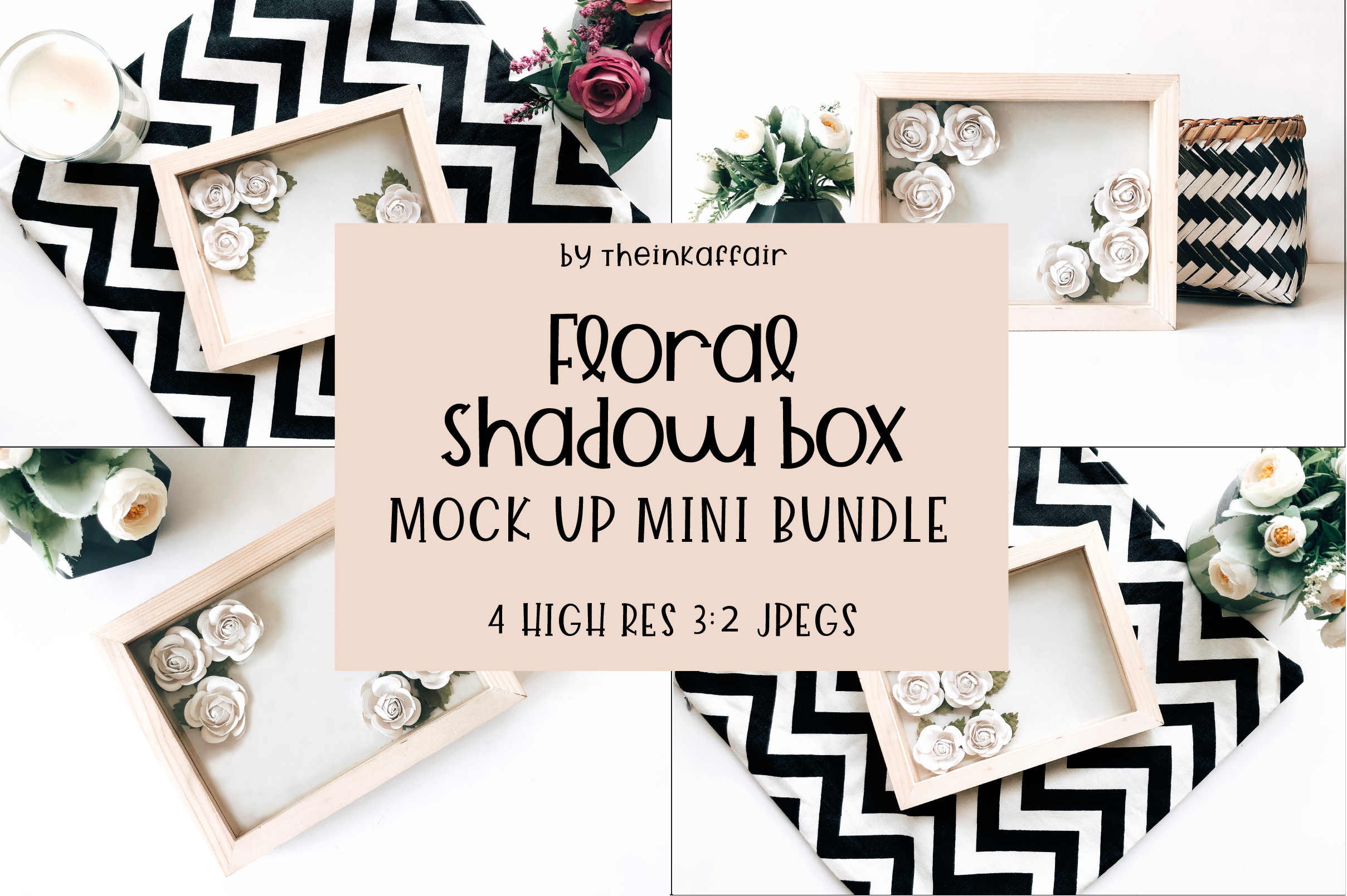 Paper Flower Shadow Box Mock up example image 1