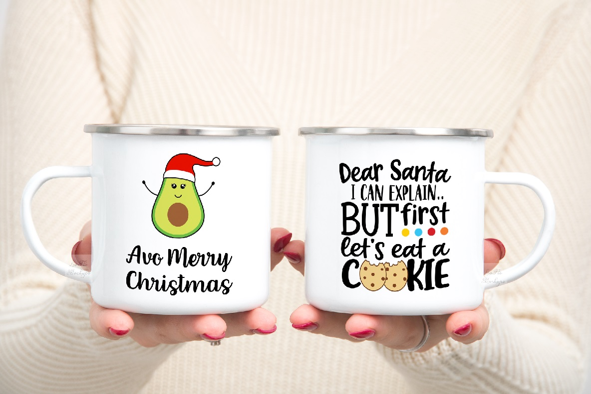 mug mockup woman two 2 enamel mugs camp PSD Camping mock up example image 4
