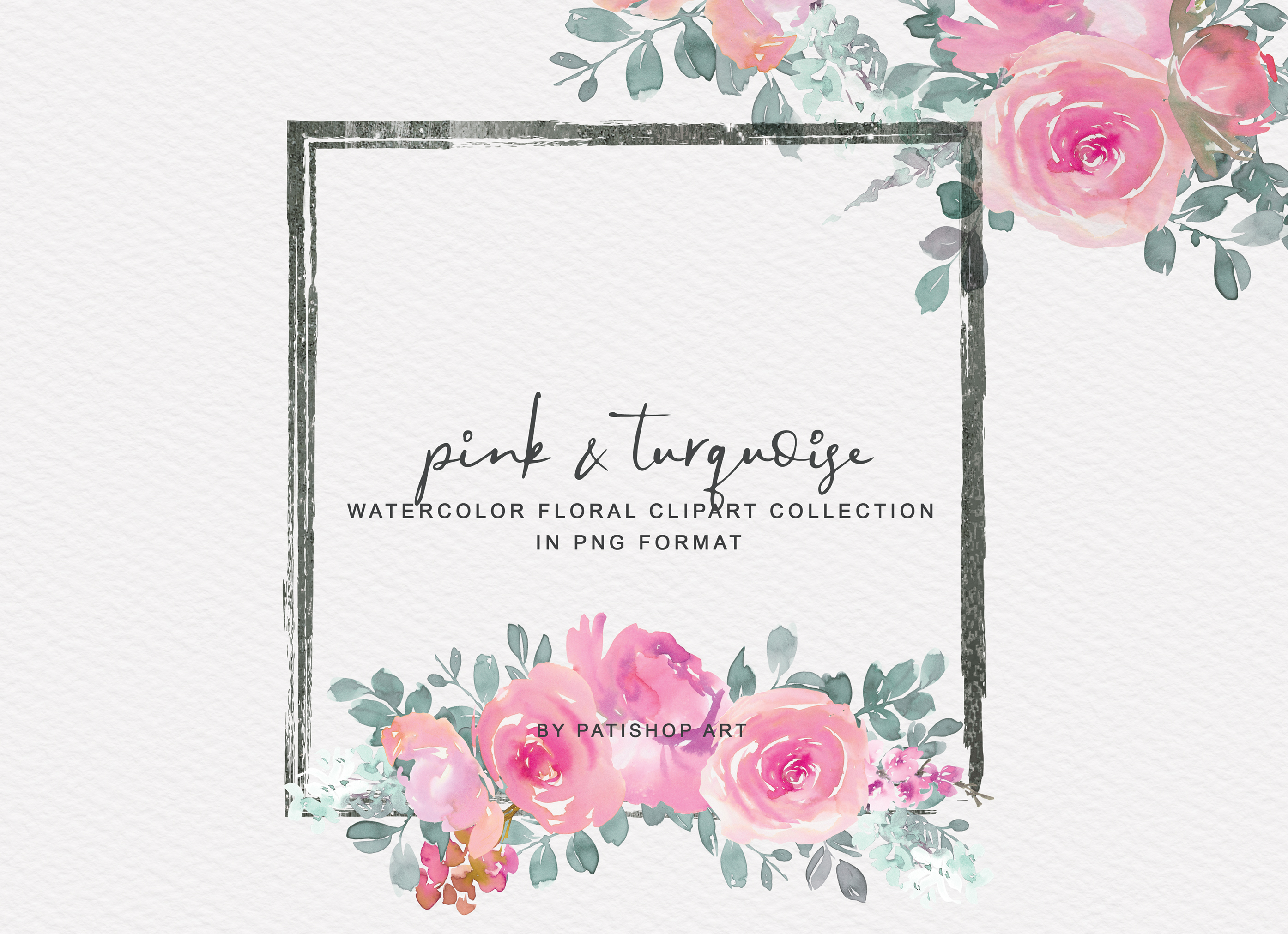 Pink and Turquoise Watercolor Floral Clipart Collection example image 2