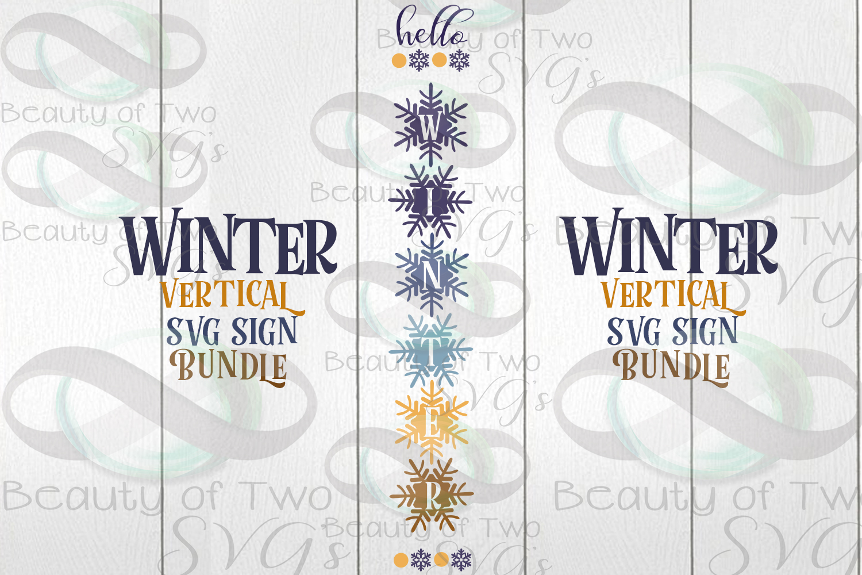 Winter Vertical svg Sign Bundle, 4 Winter svg designs example image 2
