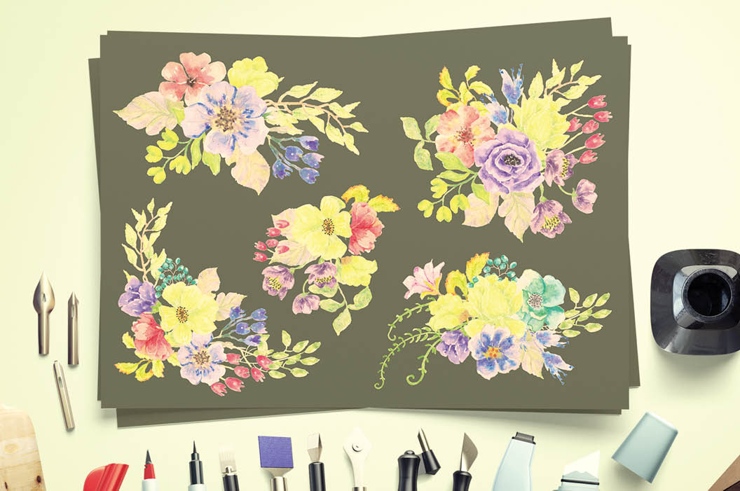 Watercolor sprays of bright spring flowers example image 5
