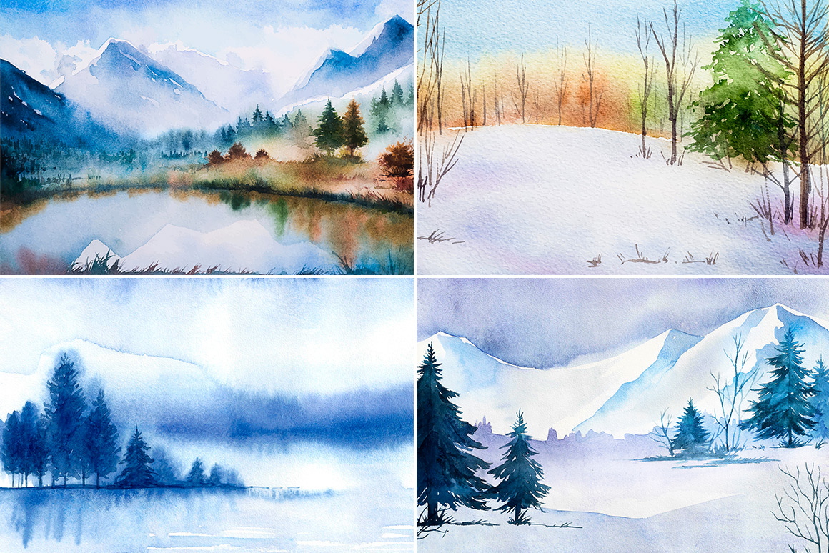 Winter Landscapes set#2. Watercolor. example image 2