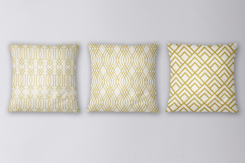 8 Seamless Art Deco Patterns - Ivory & Gold Set 1 example image 4