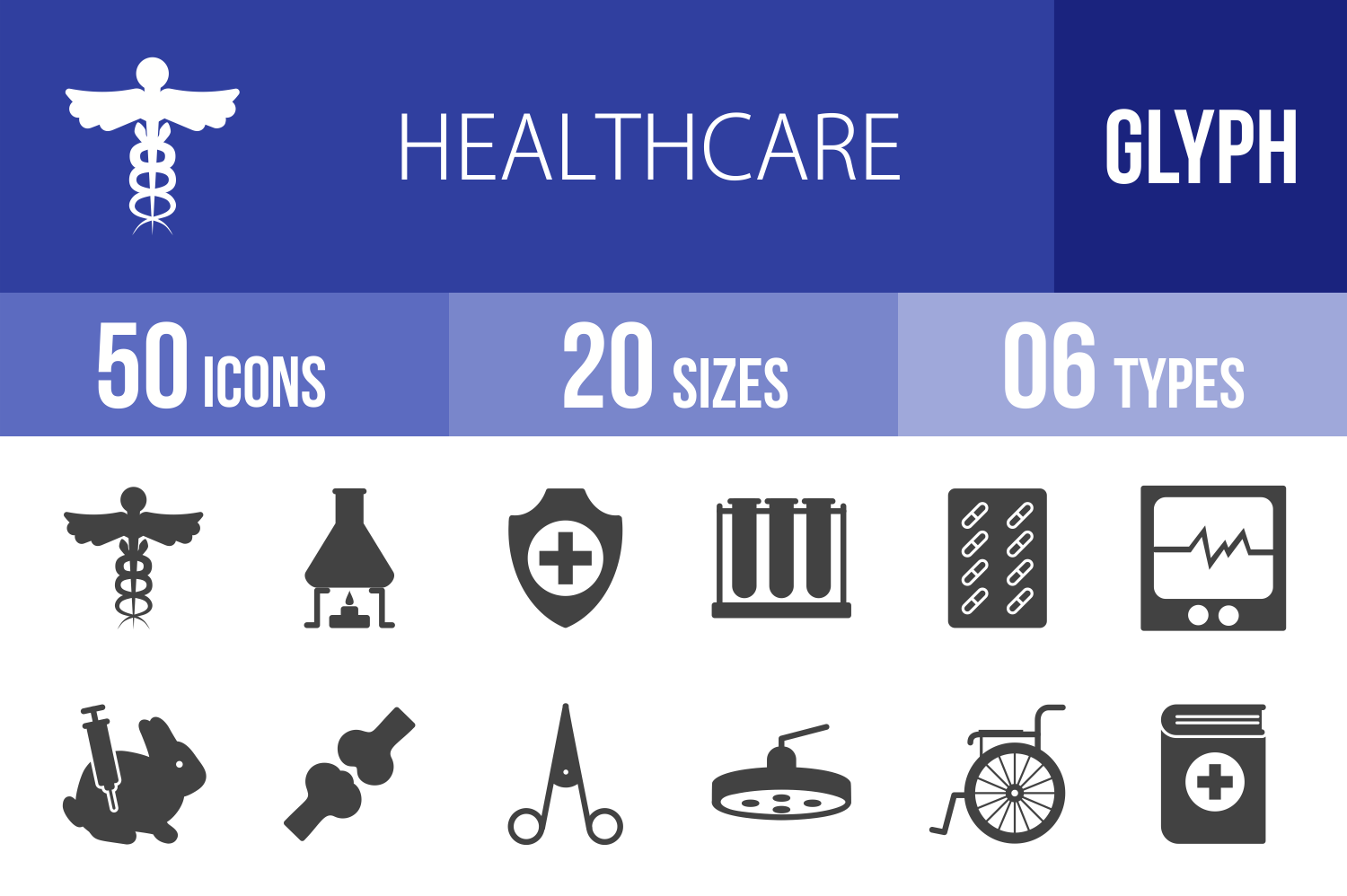 50 Healthcare Glyph Icons example image 1