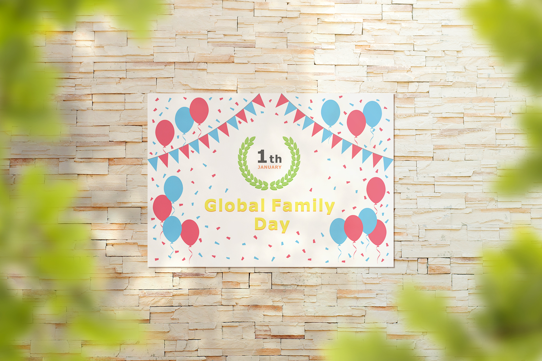 January 01 - Global Family Day. Greeting Card. example image 8