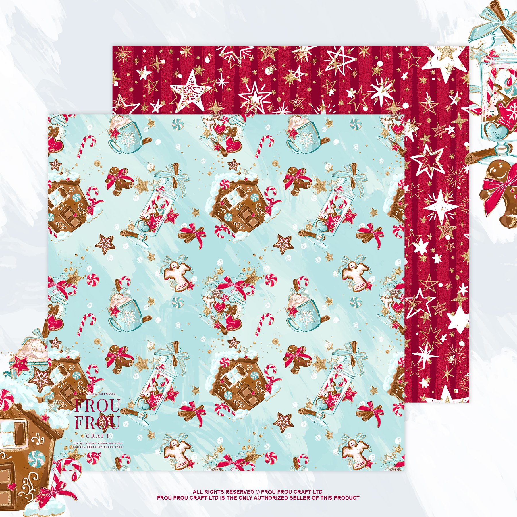 Christmas Winter Ginger Bread Sugar Cane Paper Pack example image 7