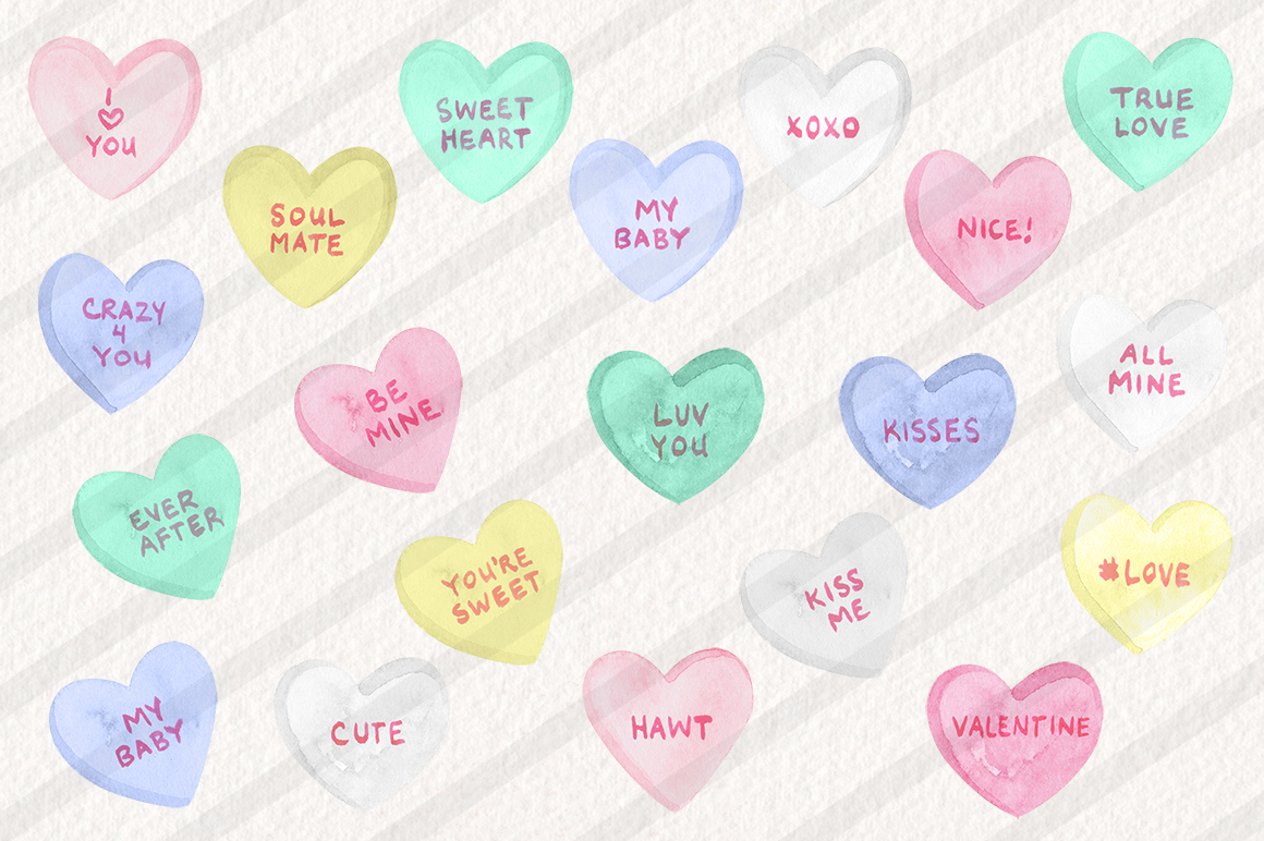 Watercolor Candy Hearts Set example image 2
