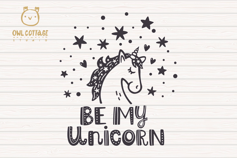 Valentine Unicorn Svg, Be My Unicorn Cut File, Valentines Da example image 2