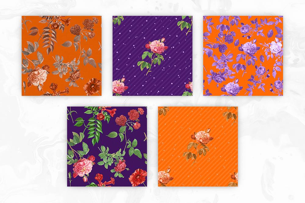 Purple & Orange Antique Botanical Seamless Backgrounds example image 2