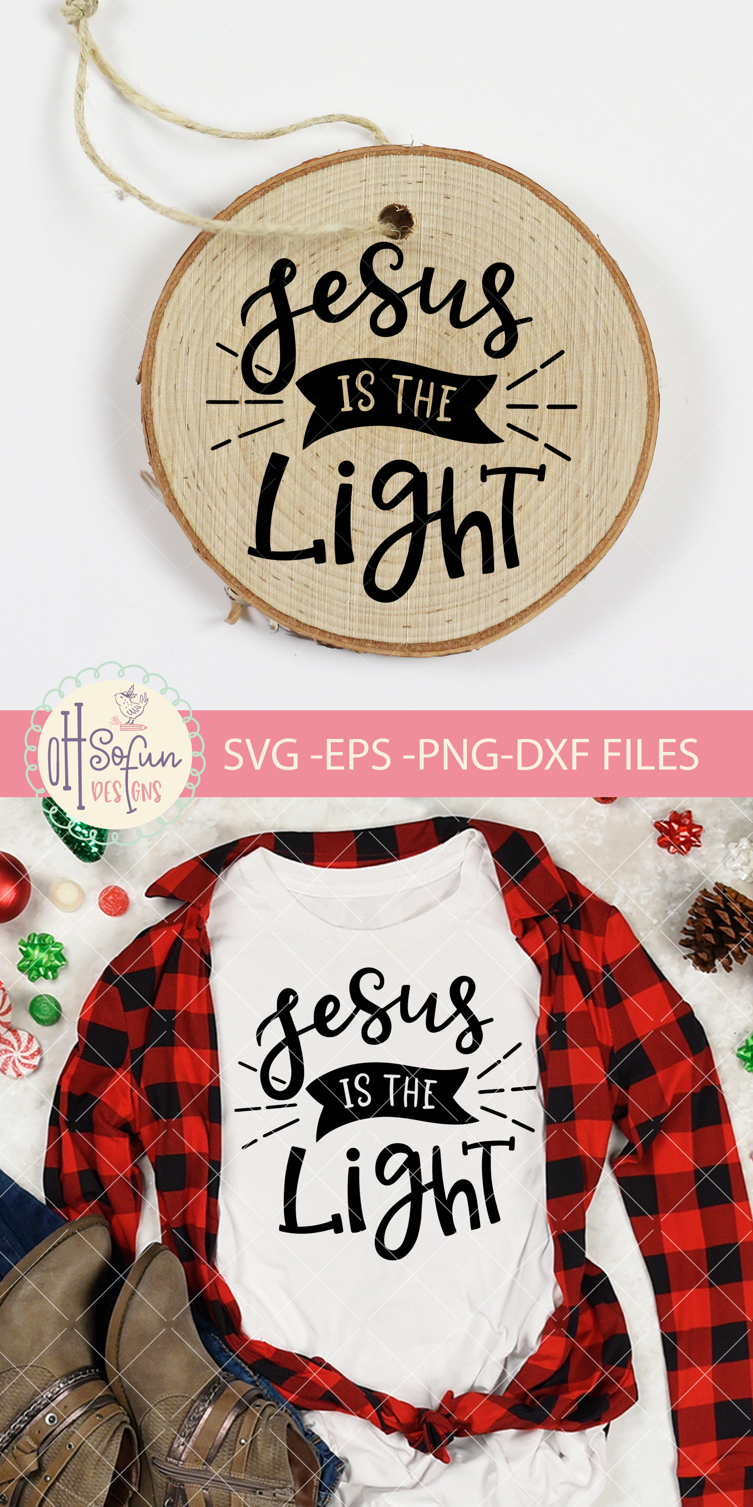 Jesus is the light, hand lettering Christmas ornament SVG example image 2