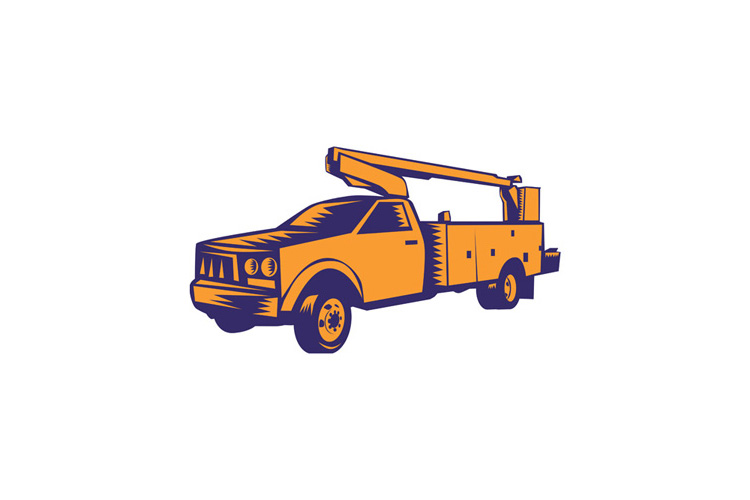 Cherry Picker Mobile Lift Truck Woodcut example image 1