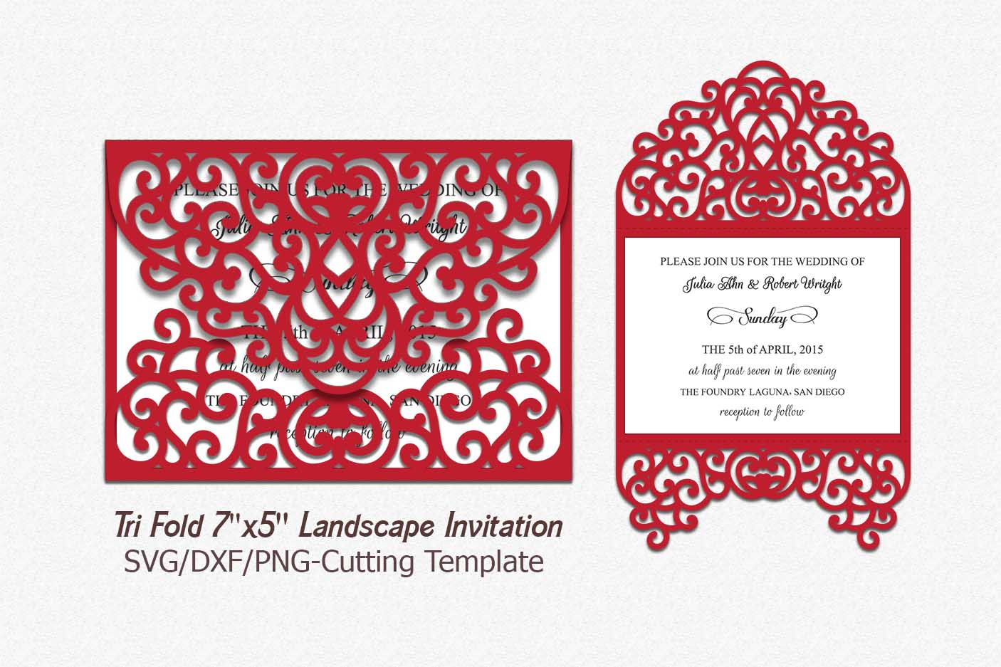 tri fold card invitation svg dxf laser machine cut template