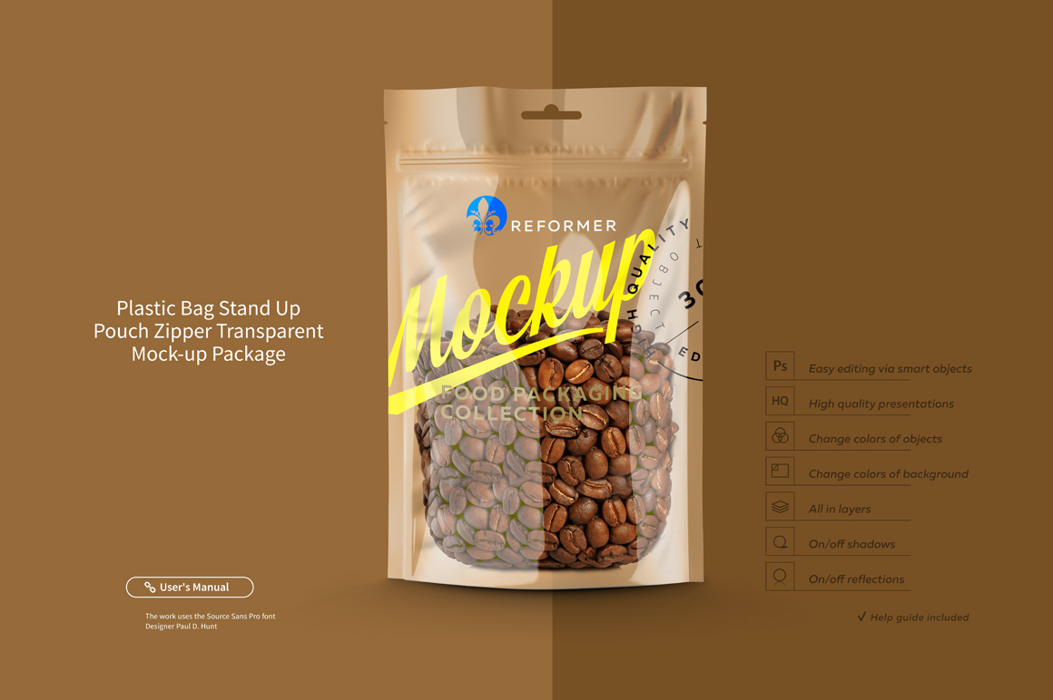 Plastic Bag Stand Up Pouch Zipper Transparent Mock-up example image 3