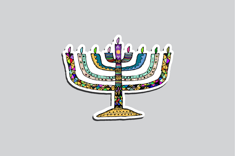 Set of 23 stickers for the Jewish holiday of Hanukkah example image 3