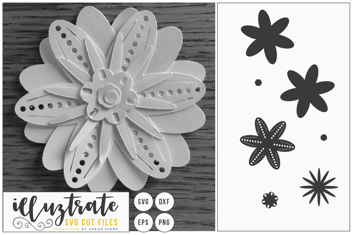 Paper Flower Template Bundle | Paper Cutting Bundle SVG example image 3